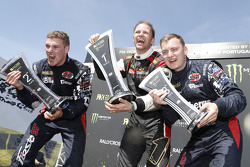 Podium: winner Petter Solberg, second place Andreas Bakkerud, third place Reinis Nitiss