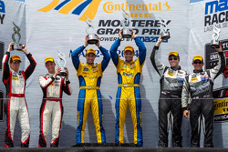 GTD class podium: winners Dane Cameron, Markus Palttala, second place Christopher Haase, Bryce Miller, third place John Potter, Andy Lally