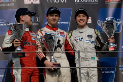 Podium: race winner Sam MacLeod, second place Martin Cao, third place Andy Chang