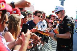 Nico Hulkenberg, Sahara Force India F1 signs autographs for the fans in the pits