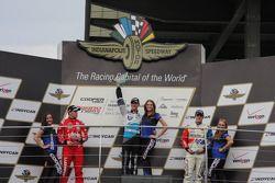 Podium: race winner Matthew Brabham, second place Luiz Razia, third place Jack Harvey