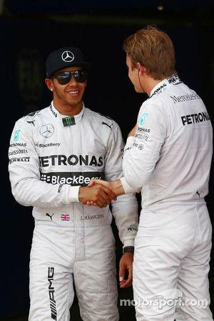 Pole position Lewis Hamilton, Mercedes AMG F1, 2ème Nico Rosberg, Mercedes AMG F1 W05