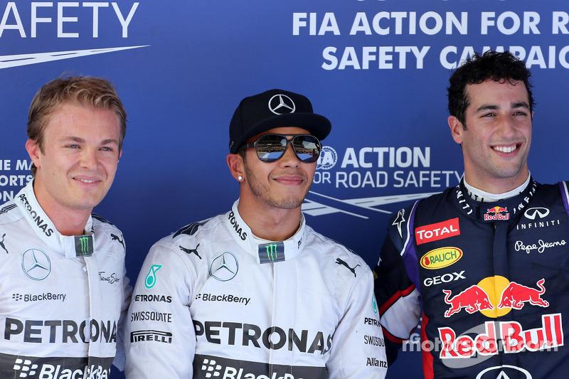 Poleman Lewis Hamilton, segundo puesto de Nico Rosberg, el tercer lugar Daniel Ricciardo