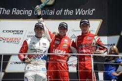 Podium: race winner Luiz Razia, second place Jack Harvey, third place Alex Baron