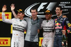 Podium: race winner Lewis Hamilton, second place Nico Rosberg, third place Daniel Ricciardo