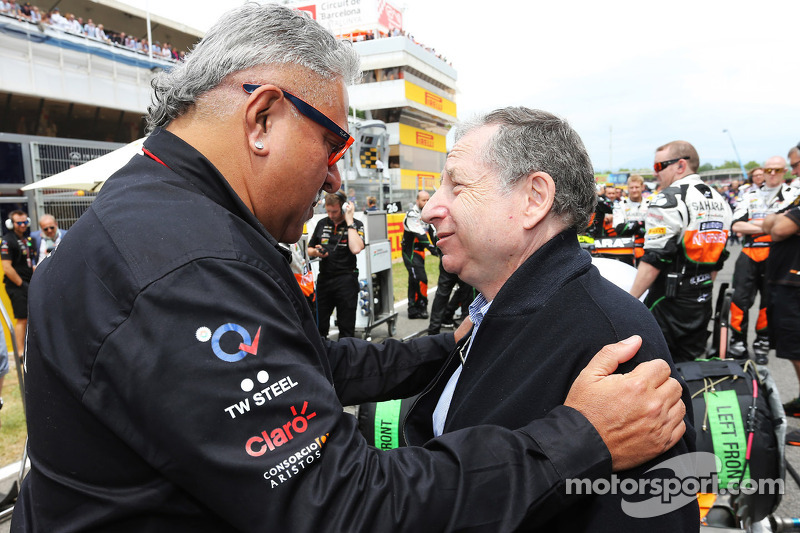 (L to R): Dr. Vijay Mallya, Sahara Force India F1 Team Owner with Jean Todt, FIA President on the grid