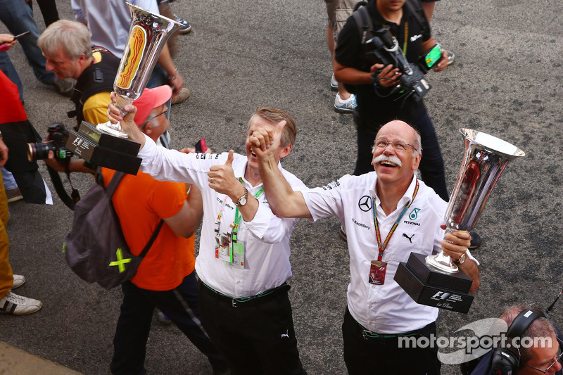 Dr. Dieter Zetsche, Daimler AG CEO, celebrates a 1-2 finish for Mercedes AMG F1