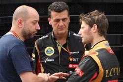 (L to R): Gerard Lopez, Lotus F1 Team Principal with Federico Gastaldi, Lotus F1 Team Deputy Team Principal and Romain Grosjean, Lotus F1 Team