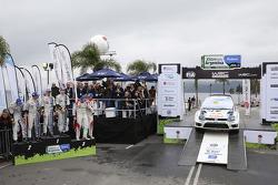 Podium: winners Jari-Matti Latvala and Miikka Anttila, second place Sébastien Ogier and Julien Ingra