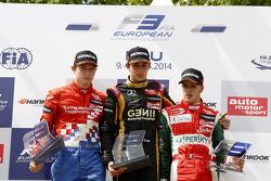 Rookie podium: winnaar Esteban Ocon, tweede plaats Jake Dennis, derde plaats Antonio Fuoco