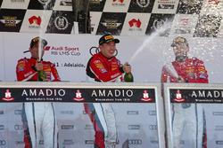 Podium: race winner Andrew Haryanto, second place Yasser Shahin, third place Theo Koundorious
