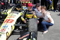 Sébastien Bourdais, Dale Coyne Racing with Vasser-Sullivan Honda poses with his mother and father, Patrick Bourdais