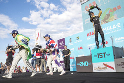Jean-Eric Vergne, Techeetah, celebrates on the podium with Lucas di Grassi, Audi Sport ABT Schaeffler, Sam Bird, DS Virgin Racing