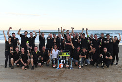 Jean-Eric Vergne, Techeetah, celebrates on the beach