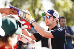 Sergio Perez, Force India, signs an autograph