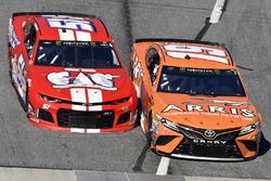 Daniel Suarez, Joe Gibbs Racing, Toyota Camry ARRIS and Harrison Rhodes, Rick Ware Racing, Chevrolet Camaro Harry's