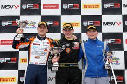 Podium: Race winner Linus Lundqvist, Double R, second place Nicolai Kjaergaard, Carlin, third place