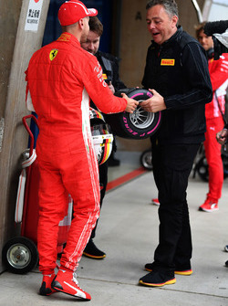 Sebastian Vettel, Ferrari receives the Pirelli Pole Position Award in parc ferme