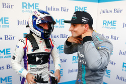 Sam Bird, DS Virgin Racing, talking to Mitch Evans, Jaguar Racing, in the media pen