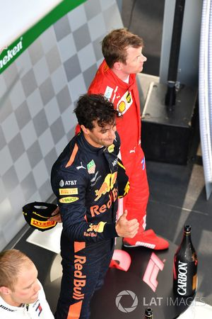 Daniel Ricciardo, Red Bull Racing and Kimi Raikkonen, Ferrari on the podium