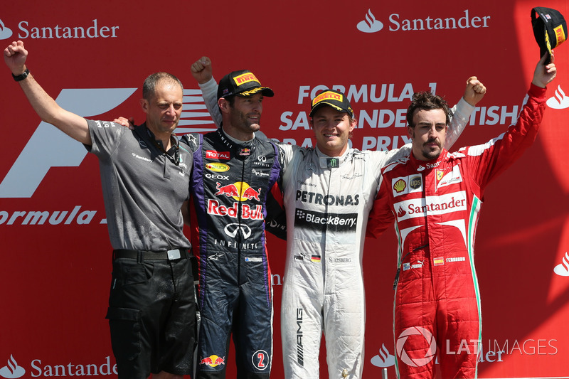 2013: 1. Nico Rosberg 2. Mark Webber, 3. Fernando Alonso