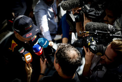 Max Verstappen, Red Bull Racing, talks to the media, including Sky reporter Ted Kravitz