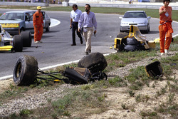 The car of Martin Donnelly, Team Lotus, after a horrific crash