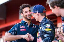 Daniel Ricciardo, Red Bull Racing, congratulates Max Verstappen, Red Bull Racing, 1st Position, on h