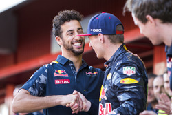 Daniel Ricciardo, Red Bull Racing, congratulates Max Verstappen, Red Bull Racing, 1st Position, on his maiden victory