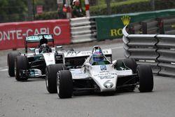 Keke Rosberg, Williams FW08 leads Nico Rosberg, Mercedes-Benz F1 W07 Hybrid
