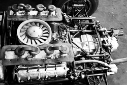 The air-cooled Flat Eight engine that powered the Porsche 804