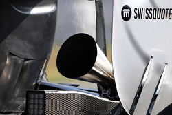 The new megaphone exhaust on the Mercedes GP car