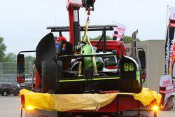 The crashed car of Jack Hawksworth, Bryan Herta Autosport Honda