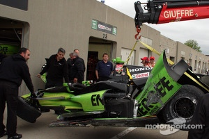 The crashed car of Jack Hawksworth, Bryan Herta Autosport Honda