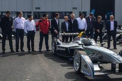 The first 10 Formula E cars are delivered and presented: Formula E CEO Alejandro Agag with Alain Pro