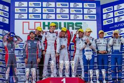 Podium: race winners Simon Dolan, Harry Tincknell, Filipe Albuquerque, second place Jan Charouz, Vin