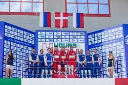 GTC podium: winners Andrea Piccini, Johnny Laursen, Mikkel Mac Jensen, second place Olivier Beretta,