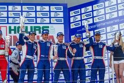 GTC podium: second place Olivier Beretta, David Markozov, Anton Ladygin, third place Kiriil Ladygin,