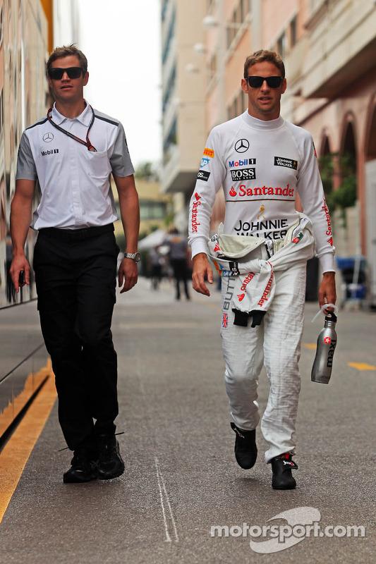 Jenson Button, McLaren, mit Mike Collier, Fitnesstrainer