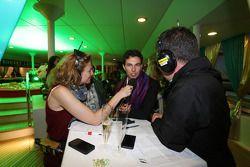 (L to R): Jennie Gow, BBC Radio 5 Live Pitlane Reporter with Sergio Perez, Sahara Force India F1 and