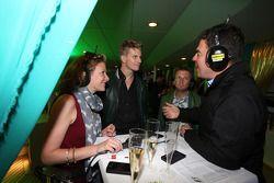 (L to R): Jennie Gow, BBC Radio 5 Live Pitlane Reporter with Nico Hulkenberg, Sahara Force India F1;