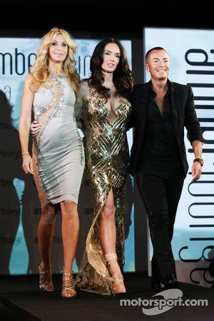 (L to R): Melissa Odabash, Swimwear Designer with Tamara Ecclestone, and Julien Macdonald, Fashion Designer at the Amber Lounge Fashion Show