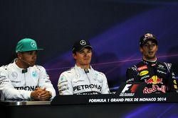 Lewis Hamilton, Nico Rosberg et Daniel Ricciardo