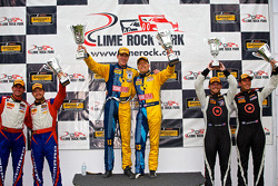 CTSCC GS Class podium: Matt Plumb, Nick Longhi, Andy Lally, Matt Bell, Kyle Gimple, Ryan Eversley