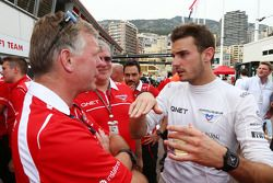 Jules Bianchi, Marussia F1 Team celebrates his and the team's first F1 points with Andy Webb, Marus