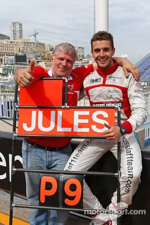 Jules Bianchi, Marussia F1 Team celebrates his and the team's first F1 points with Andrei Cheglakov,