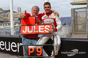 Jules Bianchi, Marussia F1 Team celebrates his and the team's first F1 points with Andrei Cheglakov, Marussia Team Owner