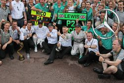 Race winner Nico Rosberg, Mercedes AMG F1 and second placed team mate Lewis Hamilton, Mercedes AMG F