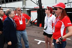 Jean Todt, FIA President with Andrei Cheglakov, Marussia Team Owner; Sasha Cheglakov, Marussia Team