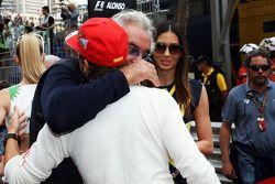 Flavio Briatore, with wife Elisabetta Gregoraci, and Fernando Alonso, Ferrari on the grid
